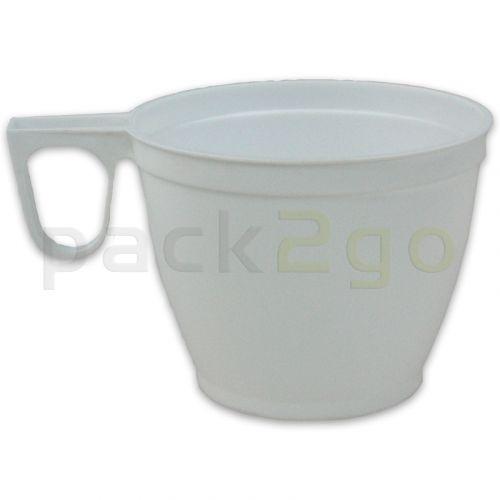 Einweg-Kaffeetasse, Plastikbecher mit Griff (Kunststoff) weiß - 180ml