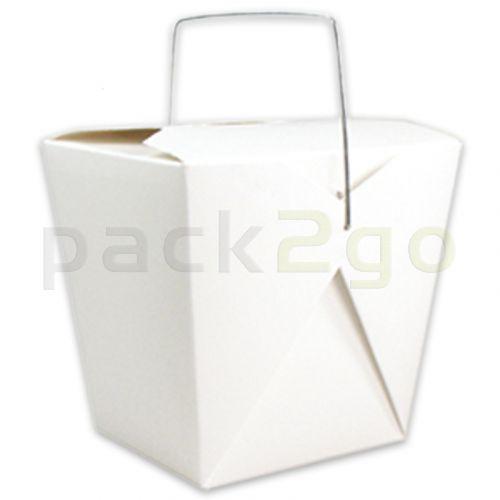 Vouwdoos met metalen handvat (FoldPak) - Asia-/noodle box wit onbedrukt - 8oz/250ml