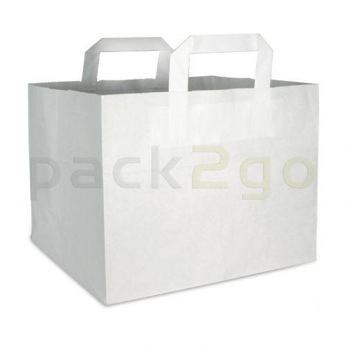 Papiertragetaschen f. Kuchen, Konditortragetaschen 32+17x27cm - extra Kraft weiß