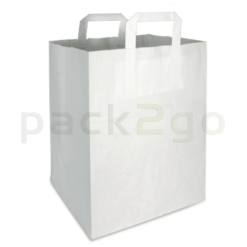 Papiertragetaschen 22+11x36cm - Kraft weiß