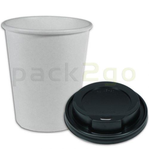 VOORDEELSET - Coffee-to-go-koffiebekers wit - 12oz, 300 ml, kartonnen bekers met zwarte deksel