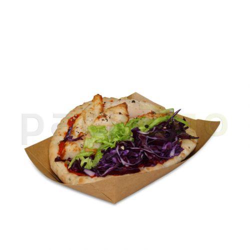 Foodtray aus Recycling-Papier (kompostierbar), braune Snackschale - 107x50x41mm