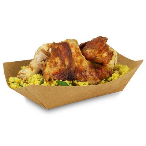 Foodtray aus Recycling-Papier (kompostierbar), braune Snackschale - 138x85x53mm