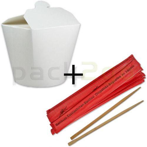 SPARPAKET - SmartServ-Box - runde Faltbox Pappe weiß - 16oz/500ml + Essstäbchen aus Bambus