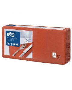 Tork Advanced tissue-servetten, 33x33cm 1/4, 3-laags, celstofservetten - terracotta