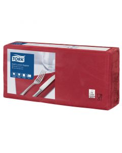 Tork Advanced Tissue-Servietten,33x33 1/4,3-lagig - bordeaux - Zellstoffservietten farbige (477411)