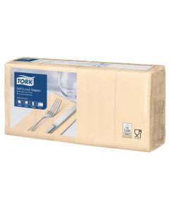 Tork Advanced Tissue-Servietten, 33x33 1/8,3-lagig - ivory /champagner - Zellstoffservietten farbige (477884)