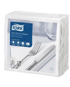 Tork Advanced tissue-servetten, 40x40 3-laags 1/4 gevouwen, celstofservetten - wit