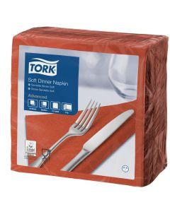 Tork Advanced Tissue-Servietten,40x40 1/4,3-lagig - terracotta - Zellstoffservietten farbige (477601)