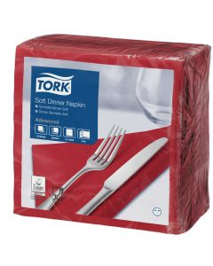 Tork Advanced tissue-servetten, 40x40cm 1/4, 3-laags, celstofservetten - bordeaux