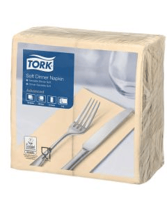 Tork Advanced tissue-servetten, 40x40 1/8 boekvouw, 3-laags, Celstofservetten - ivoor / champagne