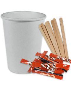 SPARPAKET - Coffee To Go Kaffeebecher weiß - 12oz, 300ml, inklusive Zucker + Rührstäbchen