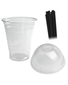 COMBI - Clear cups (smoothie bekers) - 12oz, 0,3 l -. PET met bolvormige deksel en rietjes