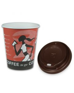 "SPARSET - Coffee To Go Kaffeebecher ""Coffee Grabbers"" - 8oz, 200ml, Pappbecher mit braunem Deckel"