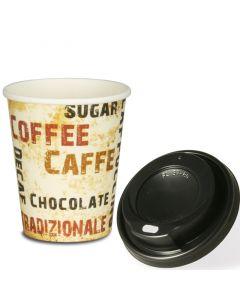 """VOORDEELSET - Coffee To Go koffiebekers """"Barista"""" - 8 oz, 200ml, kartonnen bekers met zwarte deksel"""
