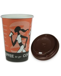 "SPARSET - Coffee To Go Kaffeebecher ""Coffee Grabbers"" - 10oz, 250ml, Pappbecher mit braunem Deckel"