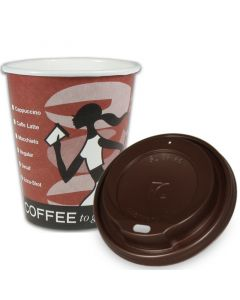 "SPARSET - Coffee To Go Kaffeebecher ""Coffee Grabbers"" - 12oz, 300ml, Pappbecher mit braunem Deckel"