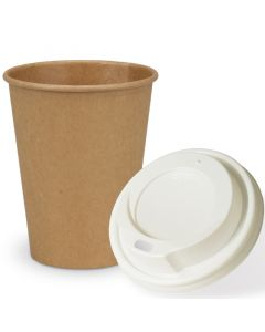 SPARSET - Coffee To Go Recycling Kaffeebecher - 12oz, 300ml, Kraftpapierbecher mit weißem Deckel
