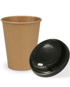 SPARSET - Coffee To Go Recycling Kaffeebecher - 12oz, 300ml, Kraftpapierbecher mit schwarzem Deckel