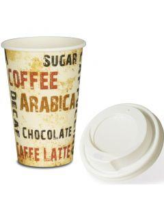"VOORDEELSET - Coffee To Go koffiebekers ""Barista"" - 12oz, 300ml, kartonnen bekers met witte deksel"