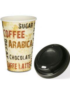 """VOORDEELSET - Coffee To Go koffiebekers """"Barista"""" - 12oz, 300ml, kartonnen bekers met zwarte deksel"""