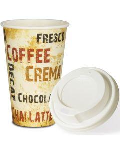 """SPARSET - Coffee To Go Kaffeebecher """"Barista"""" - 16oz, 400ml, Pappbecher mit weißem Deckel"""