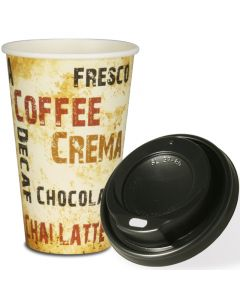 """VOORDEELSET - Coffee To Go koffiebekers """"Barista"""" - 16oz, 400ml, kartonnen bekers met zwarte deksel"""