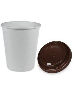 SPARSET - Coffee To Go Kaffeebecher weiß - 8oz, 200ml, Pappbecher mit braunem Deckel