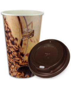 """SPARSET - Coffee To Go Kaffeebecher """"Coffee Beans"""" - 16oz, 400ml, Pappbecher mit braunem Deckel"""