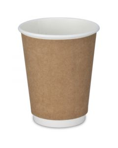 Dubbelwandige koffiebekers, recycling, coffee-to-go-bekers bruin - 12oz, 300ml