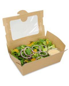 BioPak Foodcase - snackbox met venster, gecoat, bruin - 2000ml