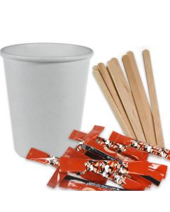 VOORDEELSET - coffee-to-go-koffiebekers wit - 8oz, 200 ml, inclusief suiker + roerstaafjes