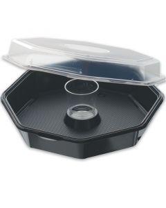 Octaview box, 8-hoekig Duni, saladebakje zwart met deksel en dressingglas - 900ml