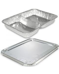 Aluminium dinerschalen incl. deksel - 2-delig 227 x 177 x 30mm, aluminium schalen met deksel, combi-pak