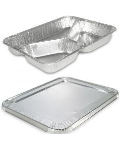 Aluminium dinerschalen incl. deksel - 3-delig 227 x 177 x 30mm, aluminium schalen met deksel, combi-pak