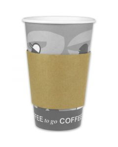 Hittebescherming voor koffiebekers 6/8/10oz, bekermanchetten karton papier (Java Jacket)