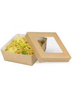 Snackbox mit Deckel und Sichtfenster, braun - 120x120x50mm