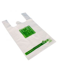 """Kompostierbare Hemdchentragetasche """"Bio Bag"""" aus PLA, weiß 25+12x45cm"""