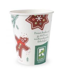 """Kompostierbarer Glühweinbecher """"Weihnachten"""", Becher für Heißgetränke - 8oz, 200ml"""
