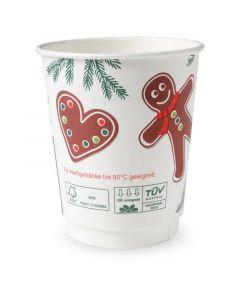 """Kompostierbarer Doppelwand-Glühweinbecher """"Weihnachten"""", Coffee To Go - 8oz, 200ml"""