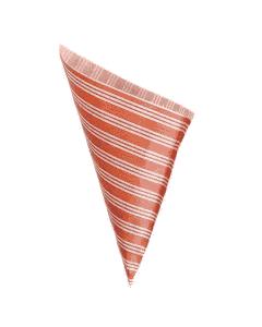 Papierspitztüten 23cm, für 250g Pommes, rot/weiß Kraftpapier