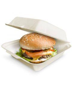 Kompostierbare XXL Burgerbox mit Klappdeckel aus Bagasse - 18,5x18,5x8mm