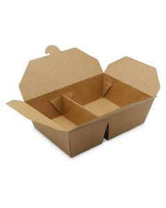 BioPak Foodcase - 2-geteilte Snackbox mit Faltdeckel, beschichtet, braun - 950/650ml