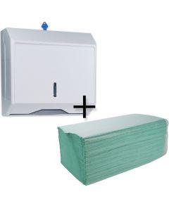 """STARTERPAKET - Spender für Papierhandtücher Zickzack und C-Falz + Papierhandtücher, Zickzack, 1-lagig """"Eco"""", grün"""