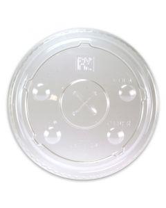 Deksels voor clear cups, plat, kruisopening voor rietjes - 9oz hoog 78mm