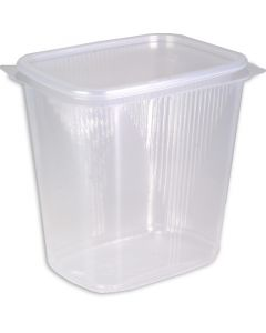 delicatessenbekers, verpakkingsbekers met deksel, doorzichtig, hoekig (combi-pak) - 500 ml