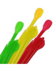 Löffel-Trinkhalme für Smoothies und Slush, Strohhalm mit Löffel - 22cm, 6mm, farbig sortiert