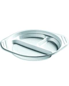 Wegwerpborden met oren, plastic borden (PP), wit, 3-delig, plastic serviesgoed rond