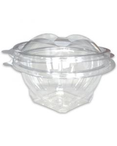 Saladebakjes rond - PET doorzichtig met deksel - 500ml