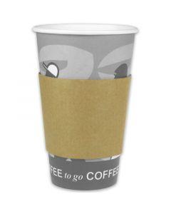 Verbrühschutz für Kaffeebecher 12/16/20oz, Bechermanschetten Pappe (Java Jacket)